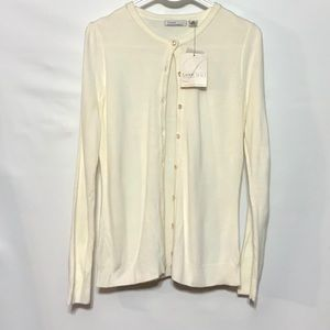 """NWT Luxe 360 cardigan """"diamond"""" buttons pleated"""